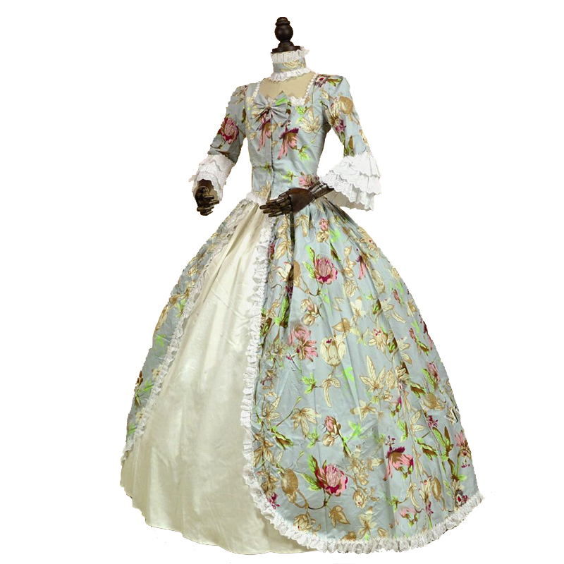 18th Century Gothic Victorian Princess Dress Flora Print Pattern Long Sleeve Marie Antoinette historical Ball Gowns