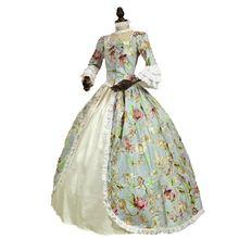 Готическое платье принцессы в викторианском стиле, 18 век, цветочный принт, длинные рукава, Marie Antoinette, Бальные вечерние платья костюм