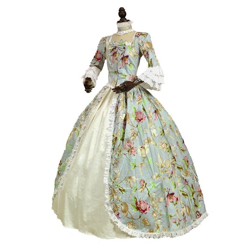 18 세기 고딕 빅토리아 공주 드레스 플로라 프린트 패턴 긴 소매 마리 앙투아 네트 역사적인 볼 가운 의상-에서드레스부터 여성 의류 의  그룹 1