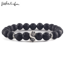 06f34bdd7d42 Suerte de piedra Natural lava perlas de color plata símbolo de dólar    encanto hecho a mano de la pulsera de los hombres para la.
