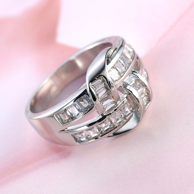 Hot Double Layer Rings For Women Girl Lovers Big Cut Round Aaa Cubic Zirconia Crystal Anel