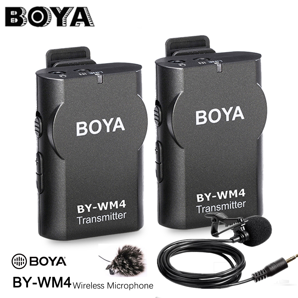 BOYA BY WM4 Wireless Studio Condenser Microphone System Lavalier Lapel Interview Mic for iPhone Canon Nikon