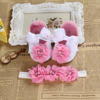 2016 Ballerina Booties Shoes Baby Girl Headbands Set Soft Soled Vintage Crib First Walker Sapatinhos De