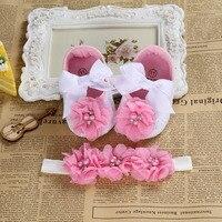 2016 Ballerina Booties Shoes Baby Girl Headbands Set Soft Soled Vintage Crib First Walker Sapatinhos De