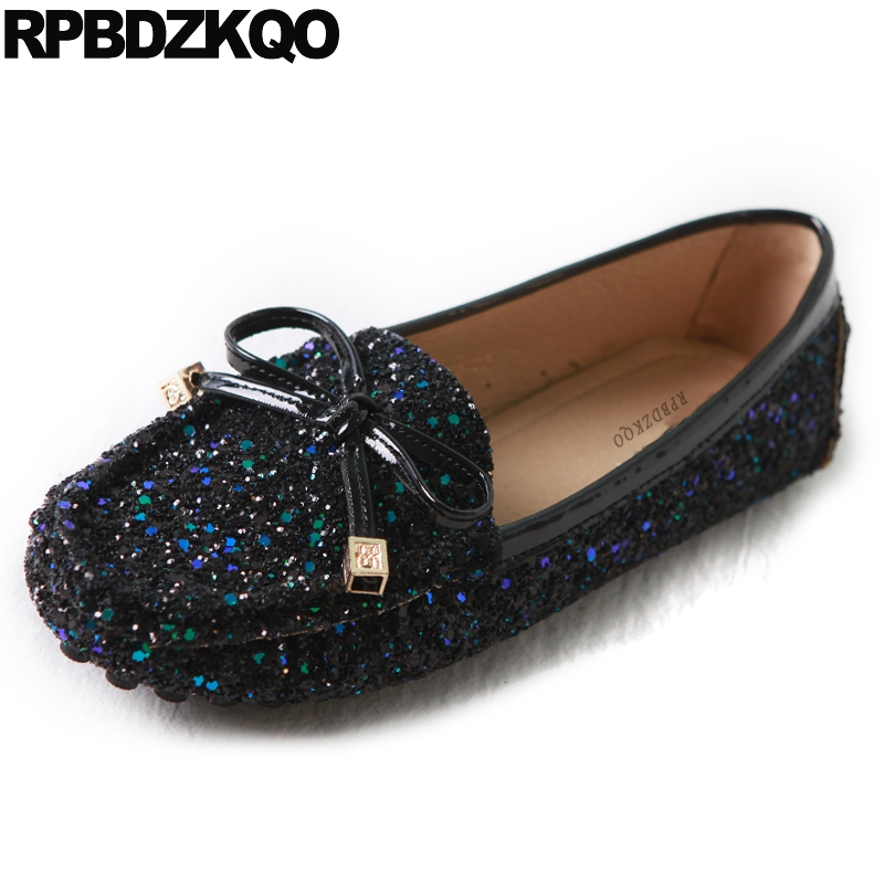 Sequin Round Toe Cute Glitter Black China Autumn Spring Bling Sequins Single Shoes Women Chinese Bow Flats Moccasins Foldable vintage embroidery women flats chinese floral canvas embroidered shoes national old beijing cloth single dance soft flats
