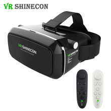 VR Shinecon Virtual Reality 3D Glasses Cardboard VR Headset Head Mount for 3.5-6.0′ Smartphones + Bluetooth Remote Controller
