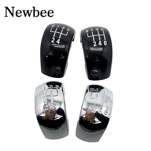 5 / 6 Speed Gear Shift Knob Stick Button Cap Cover Plastic Chrome Black Silver For Skoda Octavia MK2 II (04-08), II FL (08-11)