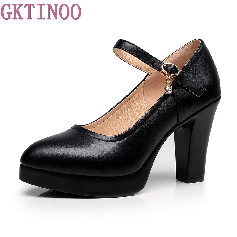 New Platform High Heels Pumps Pointed Toe Genuine Leather Thick High Heel Shoes Women Footwears Black White Plus Size 34-43 nayiduyun women genuine leather wedge high heel pumps platform creepers round toe slip on casual shoes boots wedge sneakers