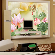 Home and rich jade lotus living room TV background wall