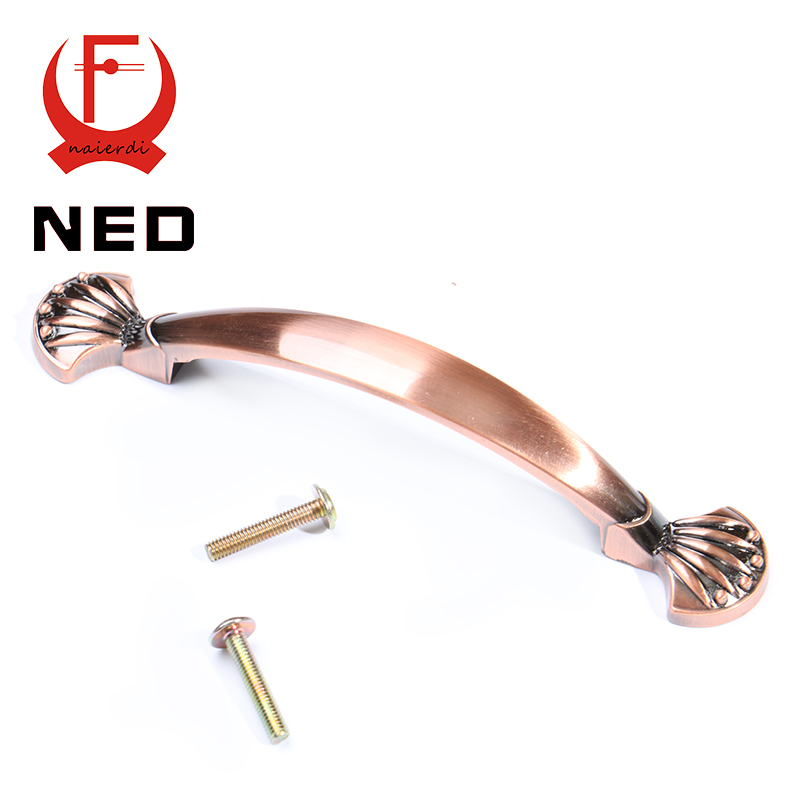 NED-8034 European Red Bronze Handle Kitchen Cabinet Knobs 96mm Cupboard Zinc Alloy Retro Furniture Handles Wardrobe Drawer Pulls
