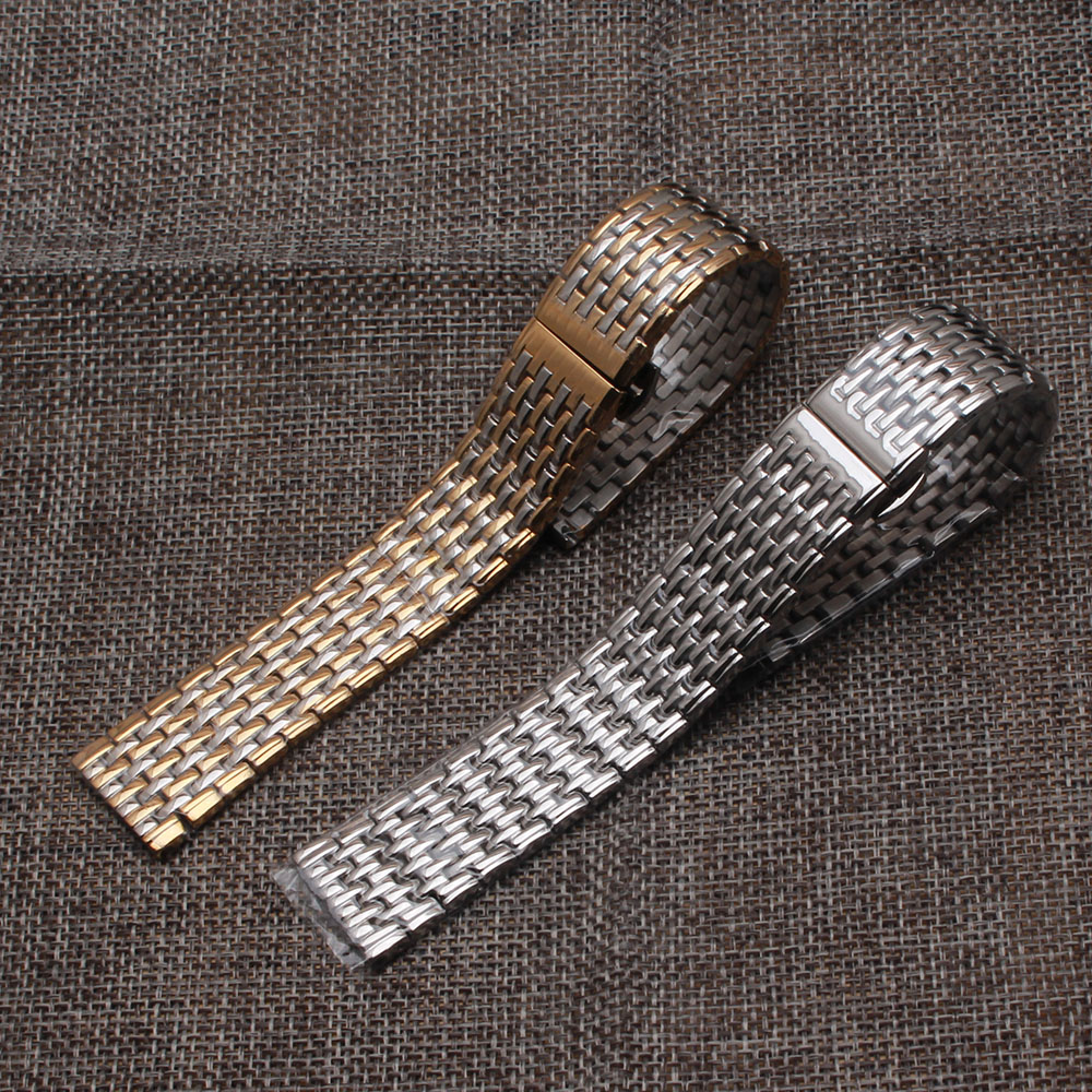 Quartz watchband thinner stainless steel watch band strap bracelet 13mm 18mm 20mm 22mm silver and gold fit brand wrist band men top quality new stainless steel strap 18mm 13mm flat straight end metal bracelet watch band silver gold watchband for brand