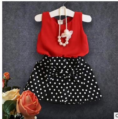 The new 2016 summer wear girl's temperament dot chiffon suit Red coat + black wave points short skirt Suit no necklace