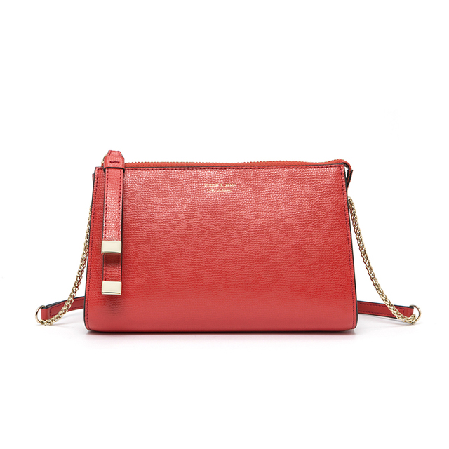 JESSIE & JANE New Style Fashion Simple Chain Bag Split Leather Women Crossbody Bags Shoulder Bag 1721