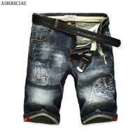 AIRGRACIAS Shorts Men Ripped Short Jeans Straight Retro Shorts Jean Bermuda Male Denim Brand Clothing Plus