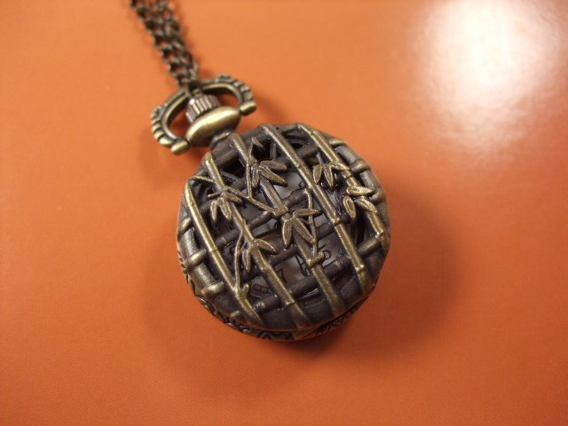 2012 shipping hot sale new men women lady Antique Mini Pocket Watch Necklace bronze bamboo leaves flower wp347