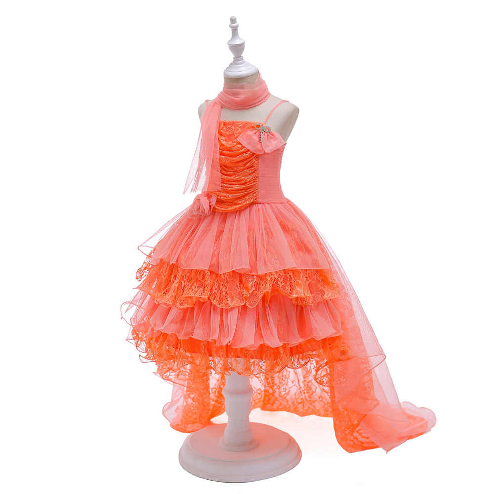 2bf0b39ead28e Free Shipping Formal Kids Dresses Princess Orange Girl Party Dress ...