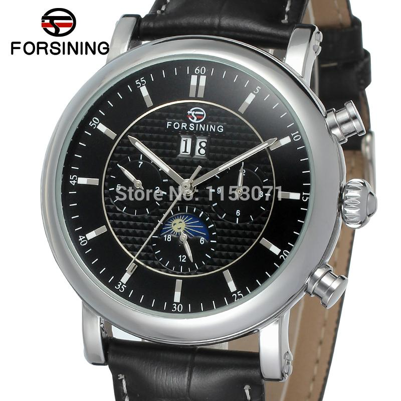 все цены на FSG553M3S2 Automatic men dress watch with moon phase new  arrival  black genuine leather strap free shipping with gift box онлайн