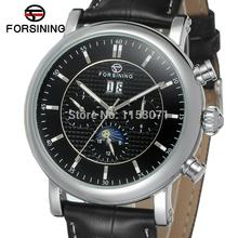 FSG553M3S2 Automatic men dress watch with moon phase new  arrival  black genuine leather strap free shipping with gift box