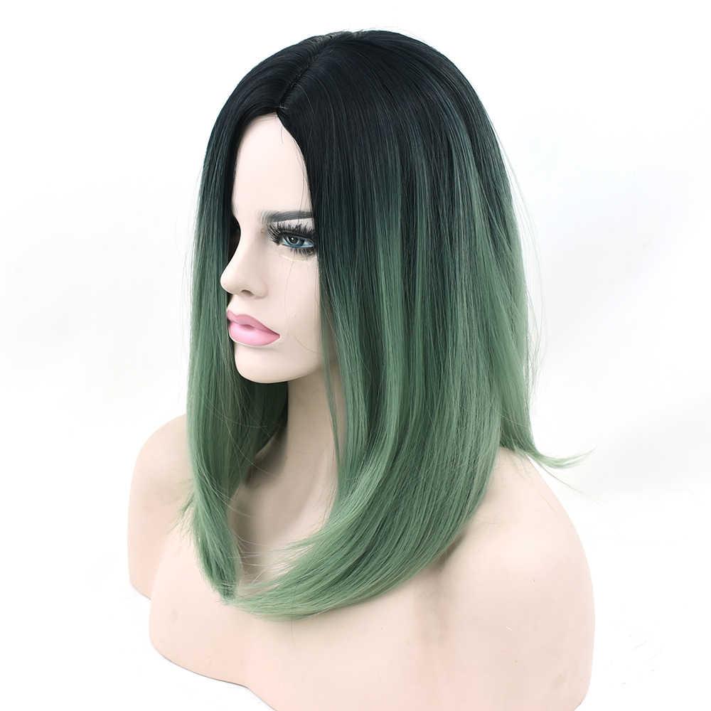 Soowee Zwart Naar Groen Ombre Hair Synthetisch Haar Bob Pruik voor Zwarte Vrouwen Rechte Haar Halloween Cosplay Pruiken Accessoires