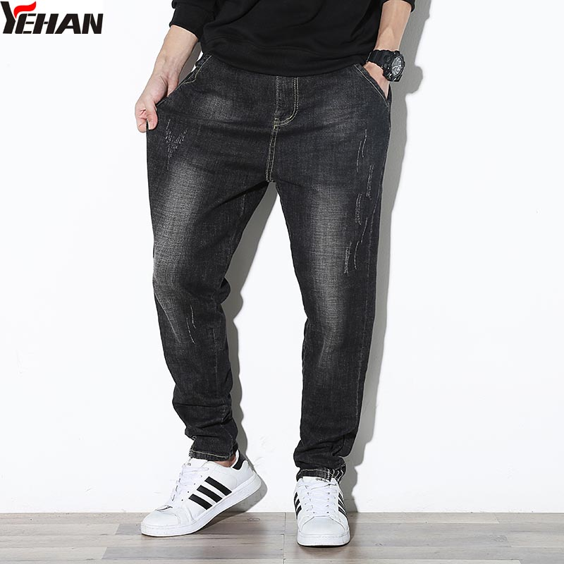 Plus size Jeans Men Loose Elastic Harem Pants Hip Hop Baggy Jeans Hommes Joggers Casual  ...