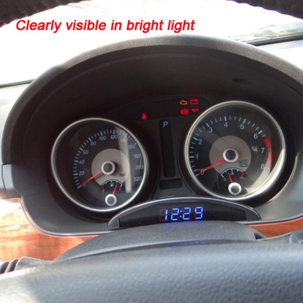 VODOOL Neue Auto Leuchtende LED Digital Auto Uhr Thermometer Voltmeter für Fahrzeug Stamm 12 V Zeit Display mit Speicher Funktion