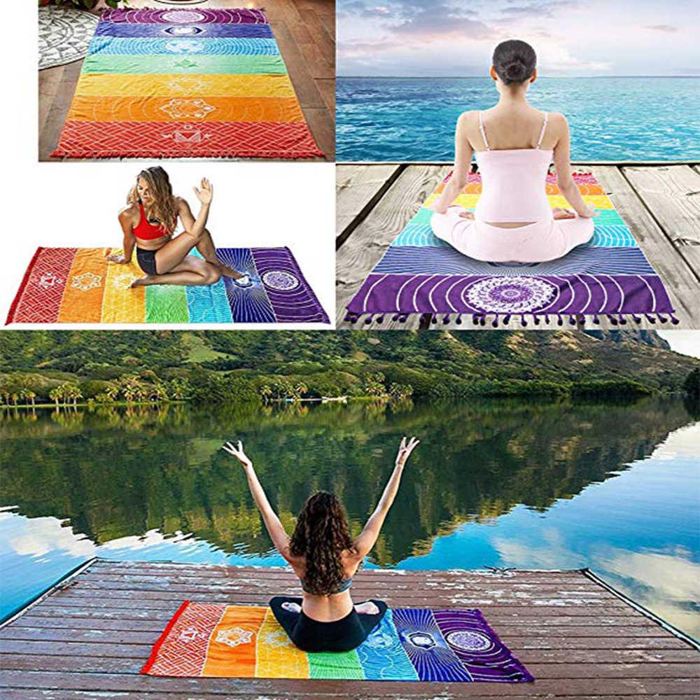 Enipate algodón/poliéster Bohemia arcoíris manta 7 Chakra rayas playa alfombra tapiz playa tiro estera Yoga almohadilla para dormir
