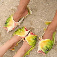 DEKESEN Brand Hand Painted Slippers Summer Parenting Natural Rubber Shoes Men Fish Shape Shoes For Women
