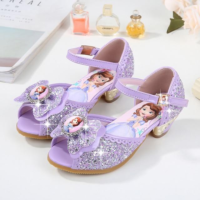 3e5f21571c0 2018 Summer New Sophia Girls Sandals Children High-heeled Princess Shoes  Sequins Korean Girls Fish Shoes EU size 24-36