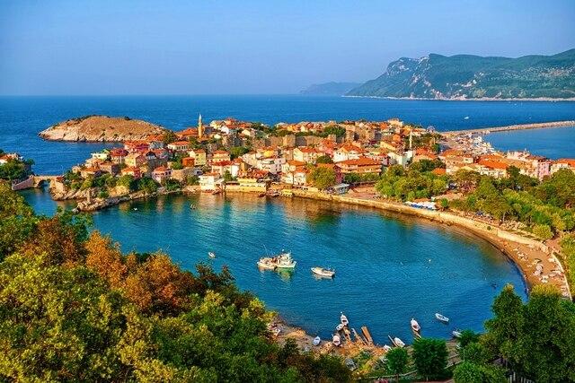 Bay maison Turquie port Amasra mer rive nature paysage MB212 salon ...