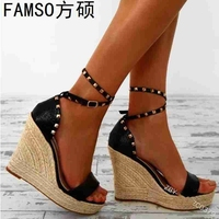 FAMSO 2019 New Shoes Women Sandals Large Size 34 43 Classics Wedges Straw Sandals Black Gold Rivets Sexy Party Sandals Shoes