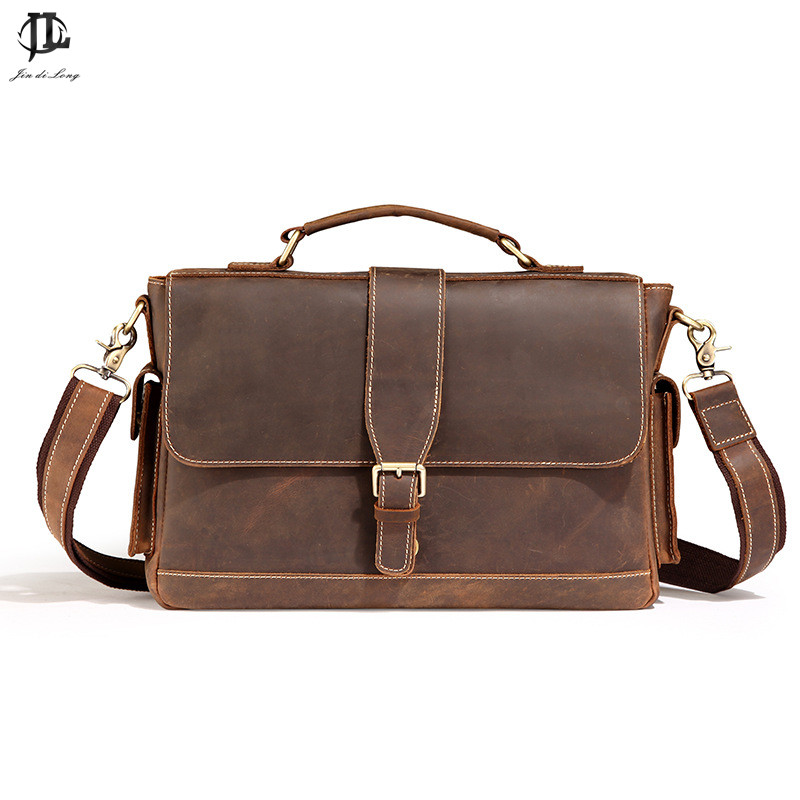 Retro vintage Genuine Leather Brown Men Briefcase 14