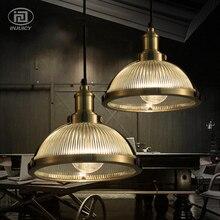 Винтаж Ретро Стекло тени светодиодный подвесной светильник столовая в промышленном стиле комнаты Гостиная Подвесная лампа для спальни