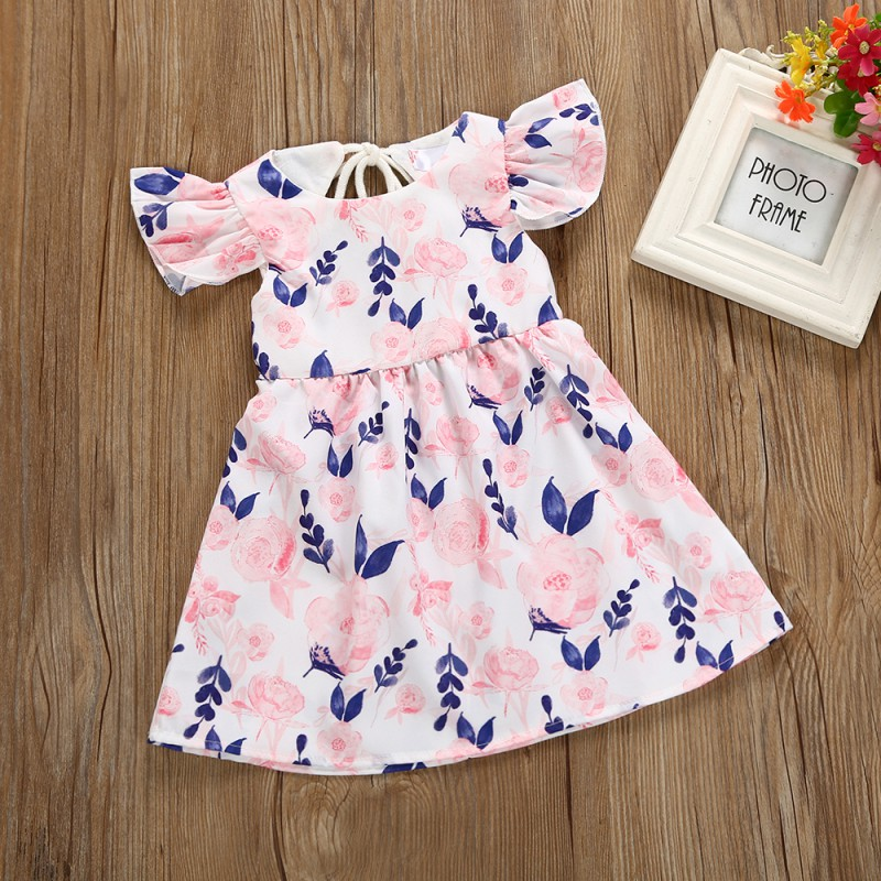 3f82fa05043eb US $4.48 18% OFF|Baby Girl Small Floral Dress Behind The Hollow Fly Sleeve  Fancy Dress Birthday Party Princess Prom Wedding Dress-in Dresses from ...