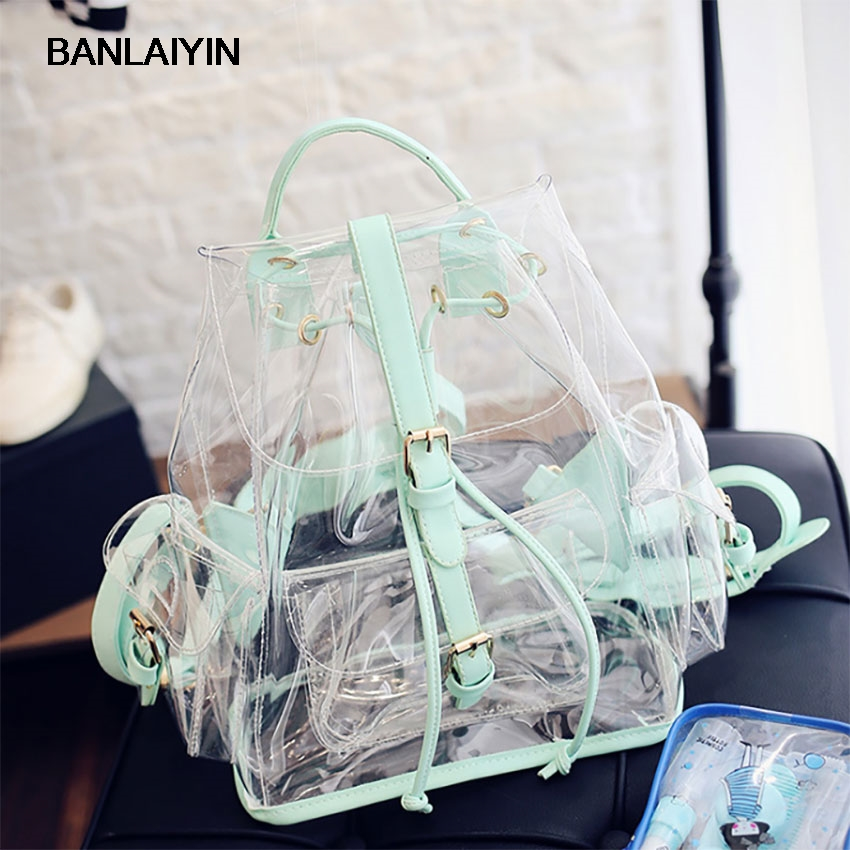 Summer Fashion Design Women Transparent Backpacks Preppy Beach Bags For Teenager Girls Lady Holiday Travel Bag Rucksack Mochila