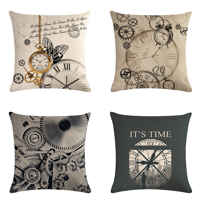 Decor Cushion Cover Clock Pocket watch Plain Printed Pillowcases Cotton  Linen Square 45*45CM On Sofa Bed Throw Pillow Case ZY718