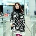 Patrón a cuadros chaqueta de punto Más Nuevos mujeres de La Manera del suéter de lana gruesa cálido abrigo Femenino delgado Cazadora de Alta calidad # LX6095