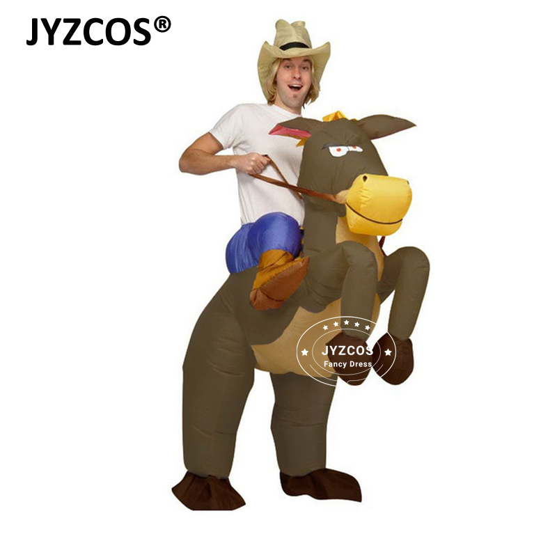 JYZCOS Fan Operated Inflatable Horse Riding Cowboy Costumes for Men Women Cowboy on Horse Halloween Party Outfits Funny Dress