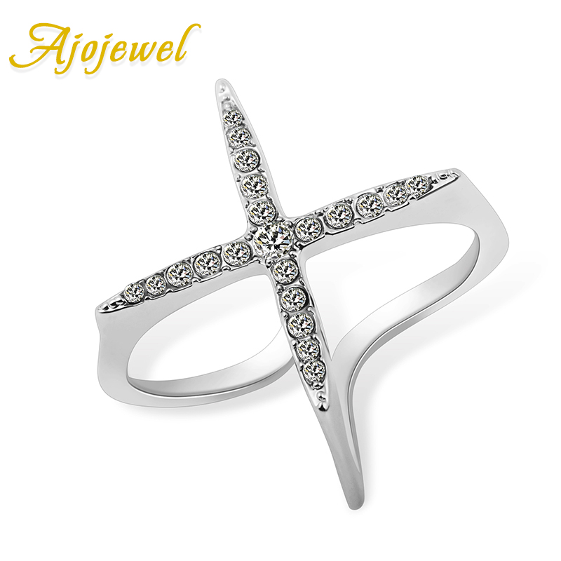 Ajojewel New Fashion Open Ring Women Micro Pave CZ Ladies Cross Rings Jewelry Bijoux Femme