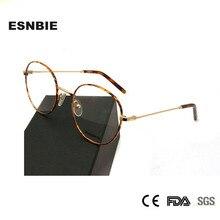 ESNBIE Alloy Ultralight Korean Eyewear Round Frames Women Myopia Glasses Frame For Men 51MM Oculos De Grau Feminino