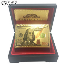 Unusual Gift 24K Carat Gold Plated Playing Cards With Wooden Box And Certificate NEW 100 Dollar Style(China)