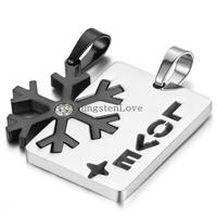 2pcs Mens Womens Couples Jewelry Stainless Steel Rhinestone Snowflake Puzzle Pendant Love Necklace 18 And 22