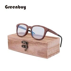 Image 2 - جديد ريترو ساندويتش الخشب نظارات الرجال اليدوية بحتة موضة الأزرق عدسات إضاءة واقية من الإشعاع النظارات الشمسية استبدال عدسة