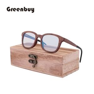 Image 2 - New Retro Sandwich Wood Glasses Purely Handmade Mens Fashion  Blue Light Lens Radiation proof Sunglasses Replaceable lens
