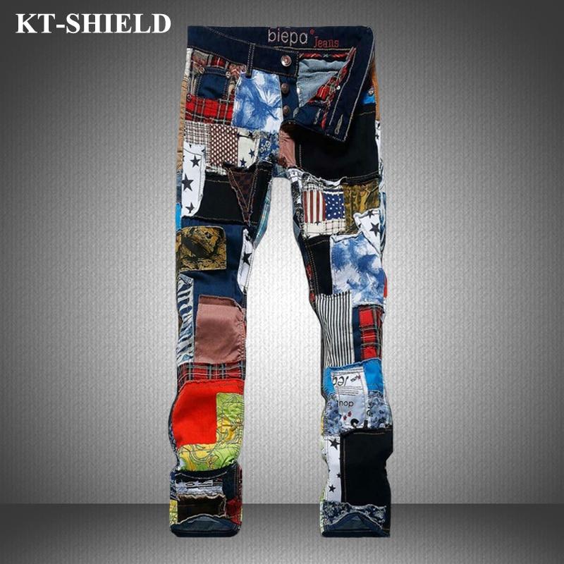 High quality Jeans Men Fashion Colorful Design Harem Pants Male Casual Vaqueros Hombre Skinny Trousers Cotton