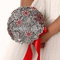 Роскошный Ручной работы высокого качества Брошь невесты Свадебное свадебный букет невесты горничная стразы Искусственный Красный цветок 8592 Г