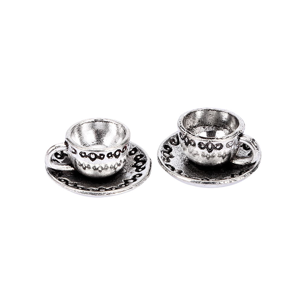 10Pcs Antique Sliver Cute 3D Coffee Cup Design Charms Handmade Teacup Charms for Jewelry Making Pendants for Necklace
