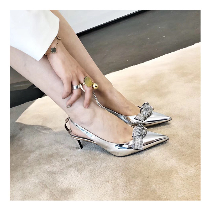 2019 Brand Slingback Women Pumps Luxury Rhinestones Butterfly Party Wedding Shoes Elegant  High heels Summer Prom Shoes Sandals 3
