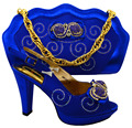 African shoe and bag set decorated with glitter Italian shoe with matching bag Italy shoe and bag set for MM1021 Royal Blue