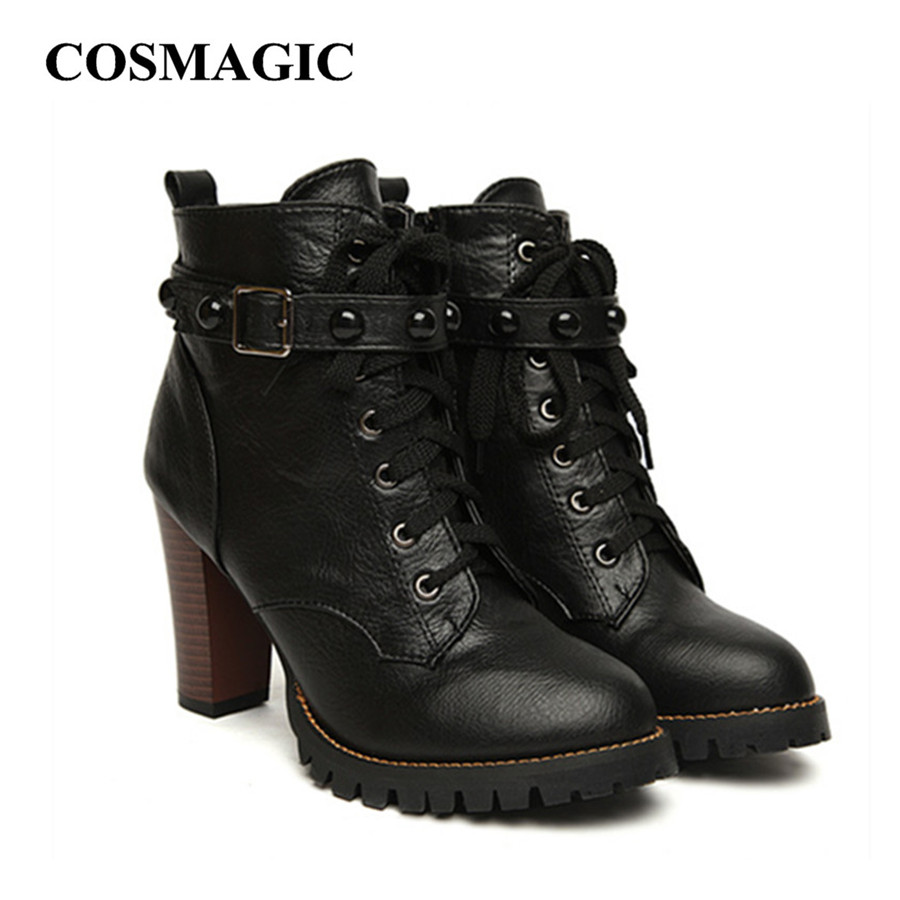 2017 New Winter Women Black High Heel Martin Boots Buckle Gothic Punk Ankle Motorcycle Combat Shoes - Gossip Girl Beautiful store