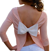 Women T Shirt with Bow 2017 New Spring Summer Fashion Backless Women's T-shirt Sexy Lady Tops Tee Shirt Pink Blusas
